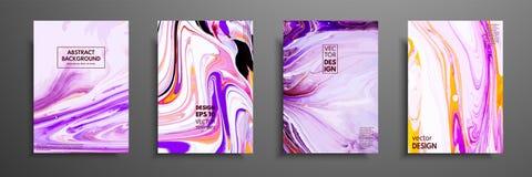 Grupo de cartões universais do vetor Textura de mármore líquida Projeto colorido para o convite, cartaz, folheto, cartaz, bandeir ilustração stock