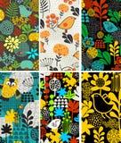 Grupo de cartões verticais com pássaros e flora Fotos de Stock