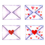 Grupo de carta de amor no envelopes pintados na aquarela em um fundo branco isolados Envelope com coração Dia do ` s do Valentim, Foto de Stock Royalty Free