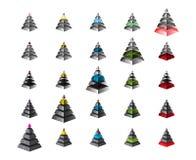 Grupo de cartas simétricas isometry da pirâmide, diagrama com inclinação, metal, textura de vidro Infographics dos elementos Veto Imagem de Stock Royalty Free