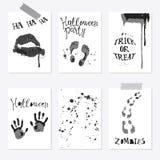 Grupo de cartaz de Dia das Bruxas ilustração stock