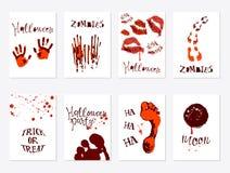 Grupo de cartaz de Dia das Bruxas ilustração royalty free