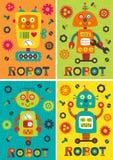Grupo de cartazes com parte 2 dos robôs Imagem de Stock