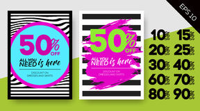 Grupo de cartazes da venda da mola Fundos listrados do vetor Pa da zebra Foto de Stock Royalty Free