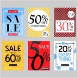 Grupo de cartazes da venda do vetor e de cartões lisos do desconto especial para ofertas do feriado Imagem de Stock Royalty Free