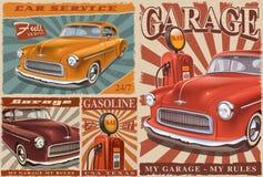 Grupo de cartazes do carro do vintage ilustração royalty free
