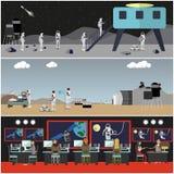 Grupo de cartazes do conceito da exploração do espaço, estilo liso do vetor ilustração royalty free