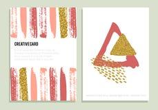 Grupo de cartazes na moda com textura do brilho do ouro Fotografia de Stock
