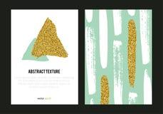 Grupo de cartazes na moda com textura do brilho do ouro Imagens de Stock Royalty Free