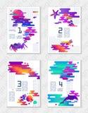 Grupo de cartazes universais criativos da arte abstrato no estilo futurista moderno com elementos da fauna marinha Formato A4, pa Fotografia de Stock