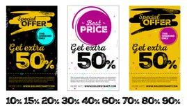 Grupo de cartazes verticais da venda Fotos de Stock Royalty Free
