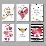Grupo de cartões artístico criativo do dia do ` s do Valentim Ilustração do vetor Fotos de Stock Royalty Free