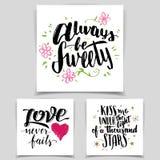 Grupo de cartões do amor da caligrafia da escova Foto de Stock