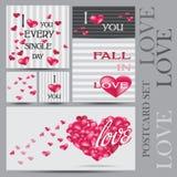 Grupo de cartões felizes do dia de Valentim Imagem de Stock Royalty Free
