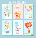 Grupo de cartões imprimíveis românticos bonitos ou de cartazes para o dia de Valentim Imagem de Stock Royalty Free