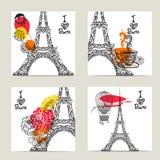 Grupo de cartão de Paris Fotografia de Stock