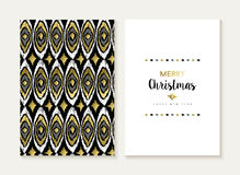 Grupo de cartão tribal retro do teste padrão do ouro do Feliz Natal Fotos de Stock Royalty Free