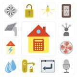 Grupo de casa, controle da voz, navegador, punho, água, fã, Smart, ilustração stock