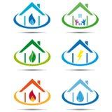 Grupo de casa do ícone com utilidade Fotos de Stock