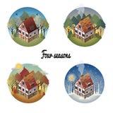 Grupo de casa europeia antiga colorida Mola, verão, inverno, outono Imagens de Stock Royalty Free