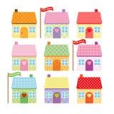 Grupo de casas bonitos dos desenhos animados para a venda Imagens de Stock Royalty Free