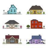 Grupo de 6 casas coloridas ilustração do vetor