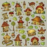 Grupo de casas do vetor dos desenhos animados ilustração royalty free