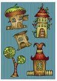 Grupo de casas do vetor dos desenhos animados da cor Ilustração Stock