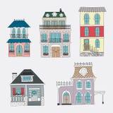 Grupo de casas do vintage do desenho da mão Foto de Stock Royalty Free