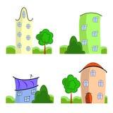 Grupo de casas dos desenhos animados Imagem de Stock