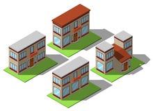 Grupo de casas isométricas simples Imagens de Stock