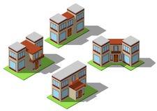 Grupo de casas isométricas simples Foto de Stock Royalty Free