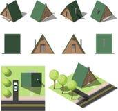 Grupo de casas isométricas simples Imagens de Stock Royalty Free
