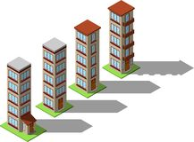 Grupo de casas isométricas simples Imagem de Stock Royalty Free