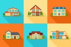 Grupo de casas modernas da casa de campo da cidade, ícones das construções, vista dianteira ilustração stock