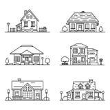 Grupo de 6 casas no estilo linear ilustração royalty free