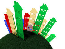 Grupo de casas que estão na terra redonda Imagens de Stock Royalty Free