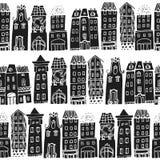 Grupo de casas tiradas mão Imagens de Stock