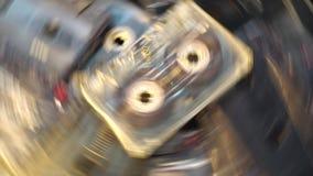 Grupo de cassetes de banda magnética velhas que giram o conceito retro da música do jogador de registro Imagem de Stock Royalty Free