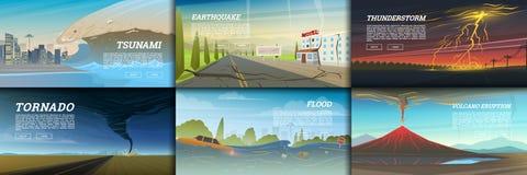Grupo de catástrofe natural ou de cataclismos Fundo da catástrofe e da crise Furacão realístico ou tempestade, curto circuito imagens de stock