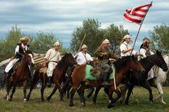 Grupo de cavaleiros que fazem uma demonstração Fotos de Stock