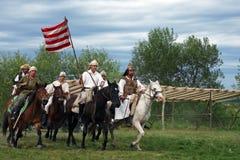 Grupo de cavaleiros que fazem uma demonstração Imagem de Stock
