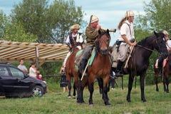 Grupo de cavaleiros que fazem uma demonstração Fotografia de Stock