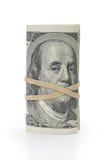 Grupo de cem notas de dólar amarradas com rubberband Imagem de Stock