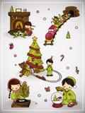 Grupo de cena do Natal com menino e menina Ilustração do vetor Imagem de Stock