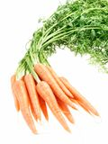 Grupo de cenouras crunchy no fundo branco imagem de stock