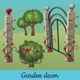 Grupo de cercas de pedra velhas com plantas ilustração royalty free