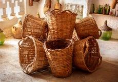 Grupo de cestas de vime agradáveis Fotos de Stock
