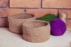 Grupo de cestas feitas malha Imagens de Stock Royalty Free