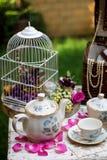 Grupo de chá antiquado no jardim Fotos de Stock Royalty Free